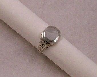monogram sterling silver signet ring