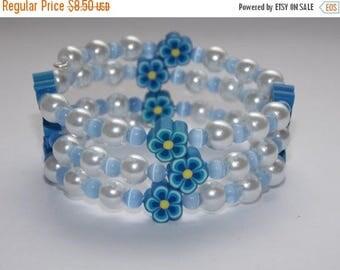15%OFF Girls Blue Flower White Pearl and Blue Cats Eye Wrap Bracelet