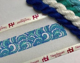 Ocean Waves needlepoint key fob canvas with fibers