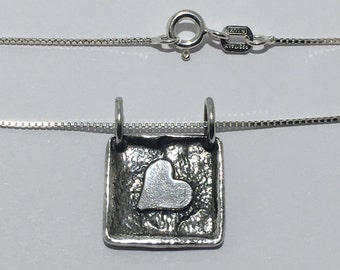 """Vintage Authentic Silpada Heart In A Frame 925 Sterling Silver Pendant on 16"""" Chain"""