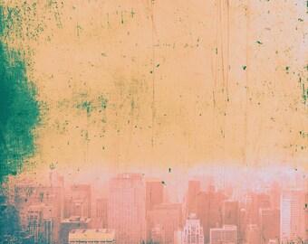 New York  red blue green and gold Manhattan skyline nostalgia scratched fine art retro print home decor