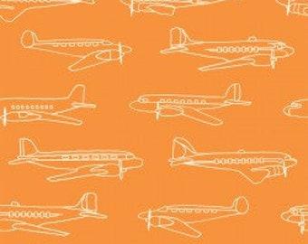Airplanes on Orange KNIT, Trans-Pacific by Birch Fabrics, fabric by the yard, modern boy print, orange fabric, boy clothing, planes, nursery