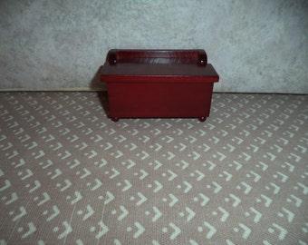 1:12 scale Dollhouse Miniature Dark Mahogany toy box