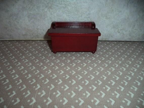 & 1:12 scale Dollhouse Miniature Dark Mahogany toy box Aboutintivar.Com