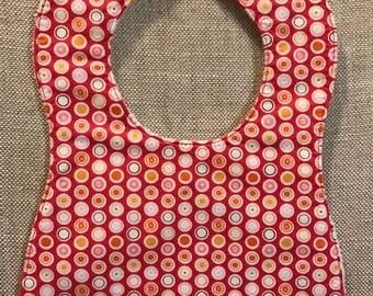 Baby Bib in Riley Blake Flower Patch Dots - Raspberry