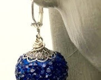Navy Blue Sparkle Glass Bead Earrings with hypoallergenic lever back earwires/Mother's Day Gift