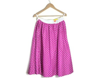 Vintage pink spotty skirt / pink polka dot circle skirt / 80s does 50s pink cotton full skirt / pink 50s style swing skirt / large