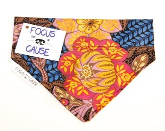 Vintage 1980's Floral Dog Bandana, Slide Over the Collar Dog Bandana, Pet Bandana, by Focus for a Cause
