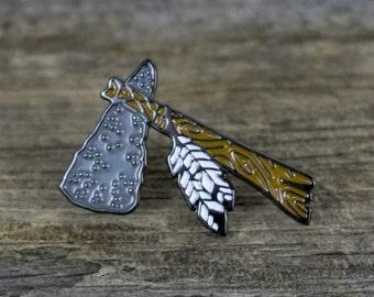 Enamel Pin - Hatchet - Feathers - Tomahawk