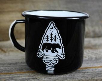 Mug, Pin, & Sticker Combo - Bear Arrowhead Trees Camping