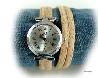 Womens cork leather wrap watch silver  - wood grain - gift for her women wife girlfriend best friend sister vegan - xmas