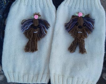 Small dog sweater with Yorkie motif on the back