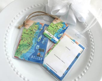 Belize Map Luggage Tag Favors  45 at 1.25 ea.  vinyl pouches, ID back, loop straps, thank you tags with jute, simple assembly