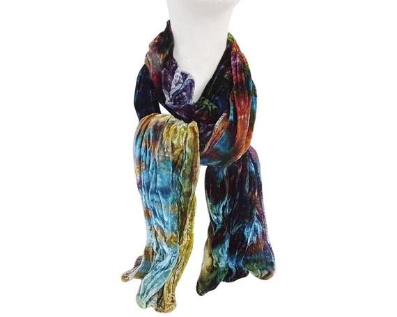 """Midnight blue velvet scarf, crushed velvet, luxe fashion, crinkle velvet, turquoise, purple, blue, gold, brown, lavender, hand dyed, 13""""x59"""""""