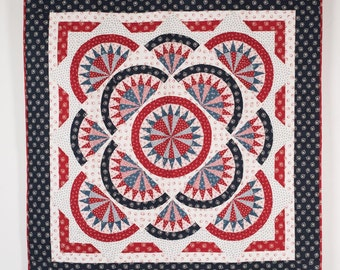Patriotic American Redwork meets Bluework Red Quilt Kit Fabric Quilt Kit 54 x 54