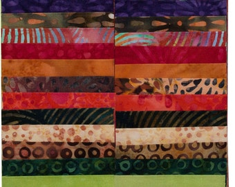 "Island Batik Glowing Embers Orange Brown Green Batiks Jelly Roll Strips Pack 40 2.5"" Strips of Fabric"