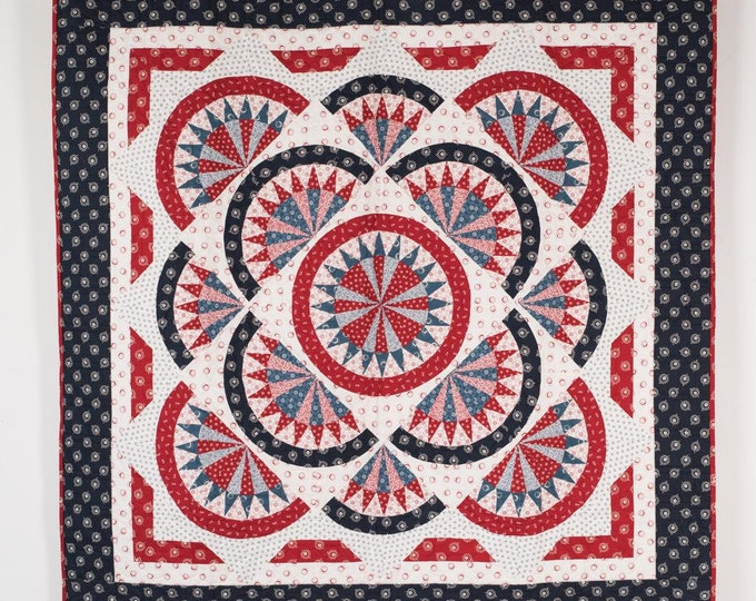 Featured listing image: Patriotic American Redwork meets Bluework Red Quilt Kit Fabric Quilt Kit 54 x 54