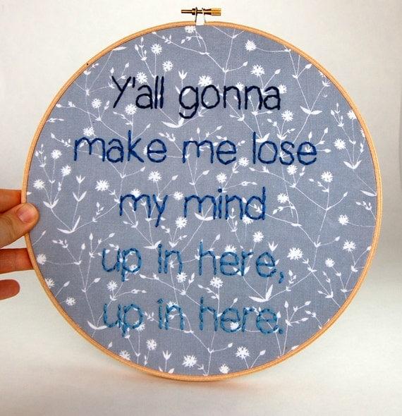 DMX Hoop Art Up In Here Lyrics Sassy Embroidery
