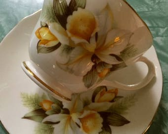 Vintage Duchess Orchid pattern bone china cup and saucer