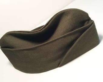 U.S. Army Garrison Cap, Side Cap, Vintage Soldier's Green Envelope Cap, Size 7 1/8, Poly-Wool Gabardine, Name Inside: Blessing AR, Like New