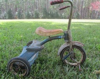 Vintage Tricycle, Photo Prop, Metal Trike, 1960s, Ape Hanger Handle Bars, Blue Tricycle, Metal Seat