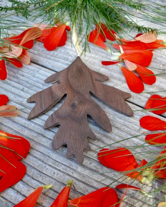 Fall wedding decorations, Natural wood ornament, Oak leaf ornament, Natural Christmas,