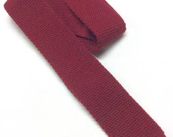 """Brooks Brothers Tie Vintage Skinny Wool Knit Square Necktie Brooks Brothers Burgundy Red 100% Wool Knit Necktie 2 1/4"""" Wide Made in Italy"""