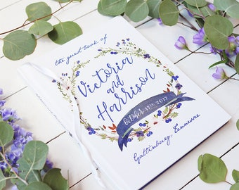 Fall Wedding Guest Book • Watercolor Laurel Wreath Floral Wedding Custom GuestBook • Personalized Guestbook • 8 x 10