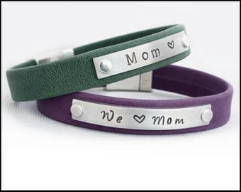 Gift for Mom, Birthday Gift Idea, Jewelry for Mom, Personalized Bracelet, Custom Leather Bracelet for Women, Present from Husband to Wife