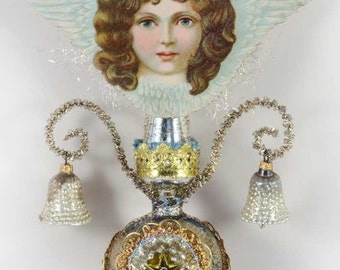 Was 299.95 - Save 50.00 Blue-Eyed Cherub Angel on Slender Antique Triple-Indent Glass Topper TT16001