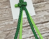 Bow, St. Patrick's Day, Green White Shamrock, Shamrock Hair Clip, St. Patty's Hair Accessory, Glitter Shamrock, Green Glitter Shamrock Bow