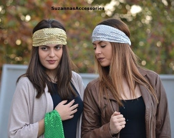 Silver Headband, Jersey Headband, SilverTurban Adult, Head Wrap, Silver Headbands, Wide Headband, Turban, Turban Headband, Womens Headband