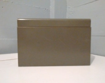 Vintage, 5 x 8, Card File, File Box, Index Card File Box, Recipe Box, Metal Box, Industrial, Office, Gray, RhymeswithDaughter