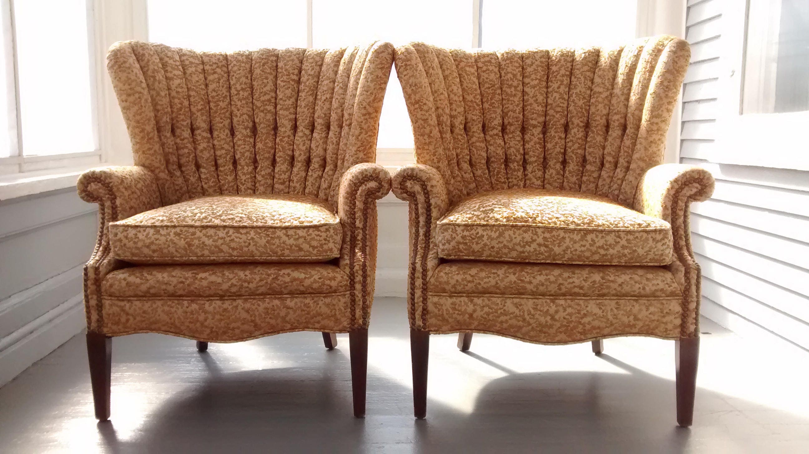 Vintage Wing Back Chairs Accent Chairs Sofa Chairs Upholstered