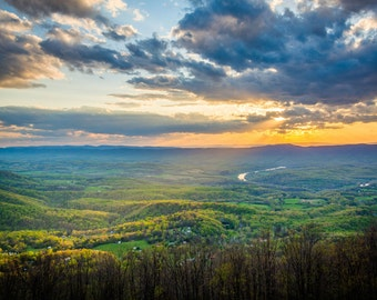 Sunset over the Shenandoah Valley, in Shenandoah National Park, Virginia. | Photo Print, Stretched Canvas, or Metal Print.