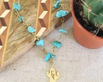New! Turquoise Cactus Choker