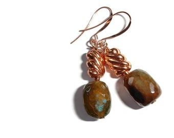 Agate Stone Earrings agate earrings stone earrings natural earrings copper gemstone earrings copper earrings natural stone nugget earrings