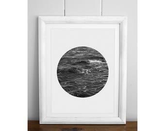 Ocean Print, Black and White Photography, Black And White Prints, Ocean, Sea Art, Digital Download, Circle Photo, B&W
