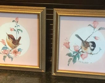 Vintage 2 Gold Framed Prints of Birds by Carolyn Shores Wright
