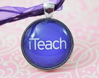 iteach Teacher gift purple Necklace Glass Pendant Silver Jewelry or Keychain