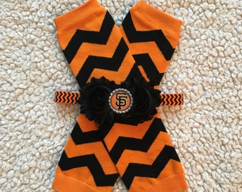 SET SF Giants inspired baby leg warmers/headband