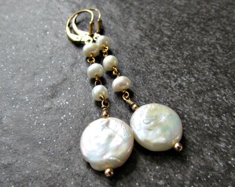 Long Freshwater Pearl Earrings with Sterling Silver or 14K Gold Filled Leverbacks- June Birthstone- Bridesmaid Wedding Bridal Jewelry