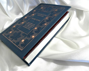 Jane Eyre by Charlotte Bronte Book Clutch Purse Rose Gold Shimmer and Denim Blue Book Cover bag, Book Handbag
