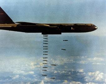 B-52 Heavy Bomber, Dropping Bombs, B-52D Jet Bomber, Vietnam War Photograph