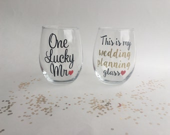 This Is My Wedding Planning Wine Glass, One Lucky Mr Glass, Engagement Gift, Engagement Wine Glass, Bride to Be Gift, Wedding Planning Glass