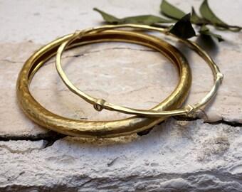 Stacking Bangles Gold Bangles Gold Bracelets Unique Gold Bangles Stackable Gold Bangles Hammered Gold Bangle Handmade Jewelry Bridal