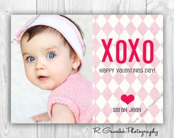 XOXO Printable Valentine Photo Card | Happy Valentine's Day | Hugs and Kisses Valentine | Valentine's Day Card with Photo | Made To Order