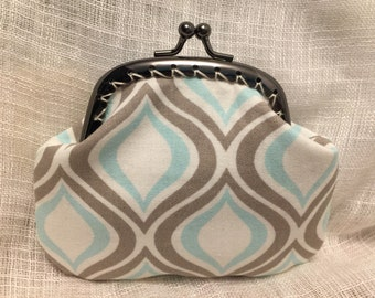 Blue and Grey Swirls Coin Purse