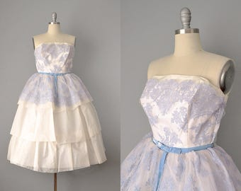 1950s Dress // 1950's White Organdy and Powder Blue Lace Dress // S-XS