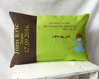 Taufkissen/blessing pillow cushion to the baptism incl. embroidery Green/Brown